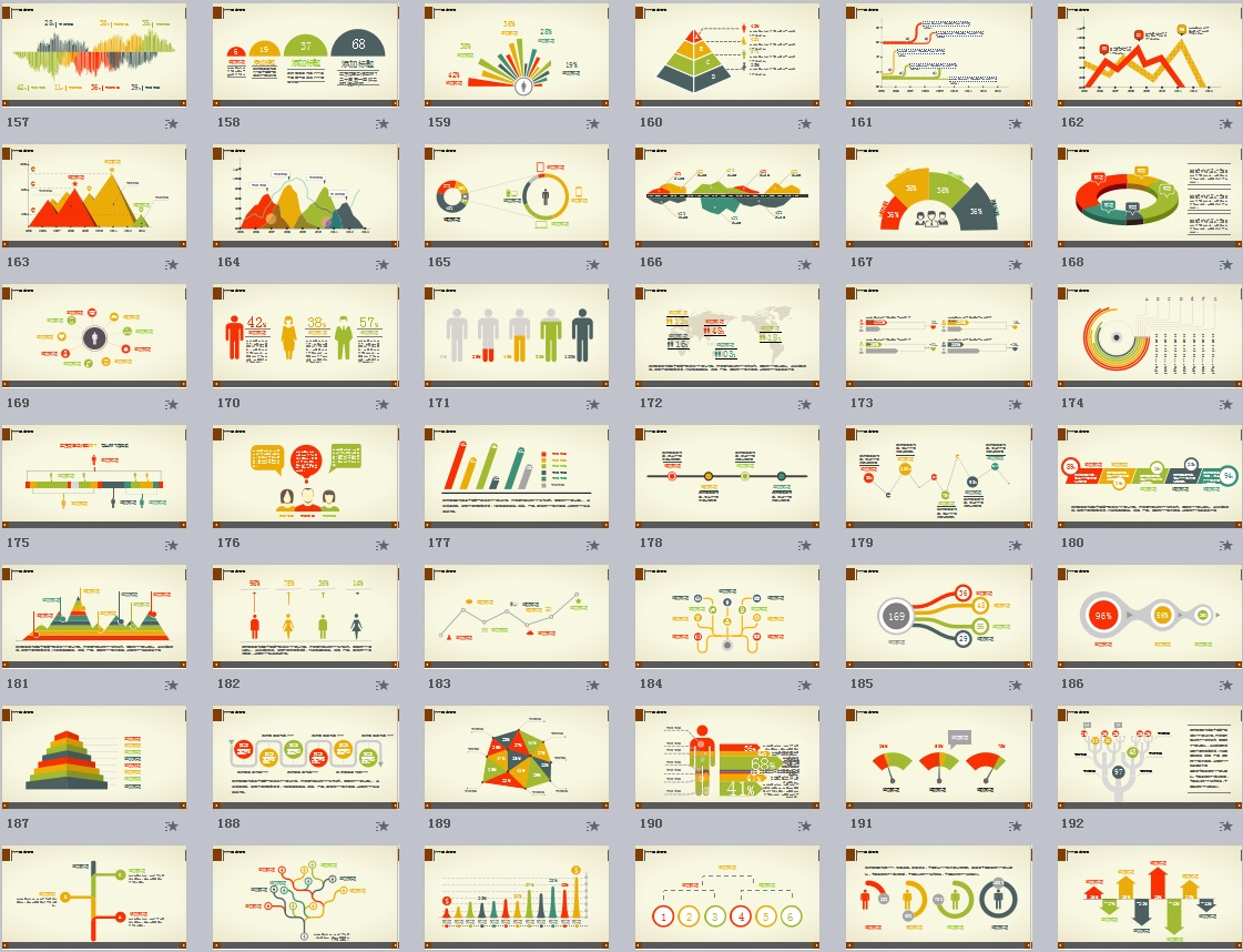200张扁平化多彩PPT图表模板